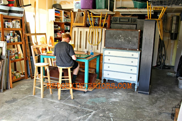 From table to workbench with VERY little building!  By Redoux Interiors featured on http://www.ilovethatjunk.com
