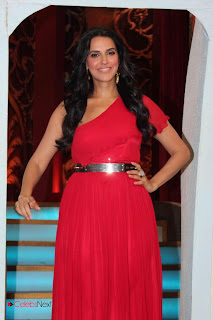 Neha Dhupia Stills in One Shoulder Red Long Dress at Nautanki New Show Press Meet  0002.jpg