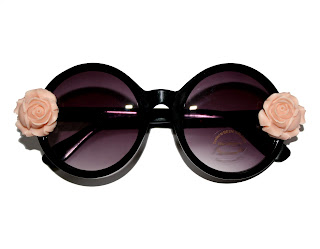 roses and clementines floral sunglasses, vintage circle shades