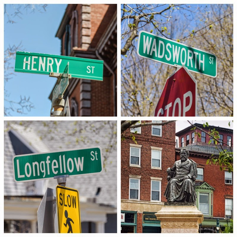 Portland, Maine USA May 2015 photos by Corey Templeton of Henry Wadsworth Longfellow Street signs and Statues