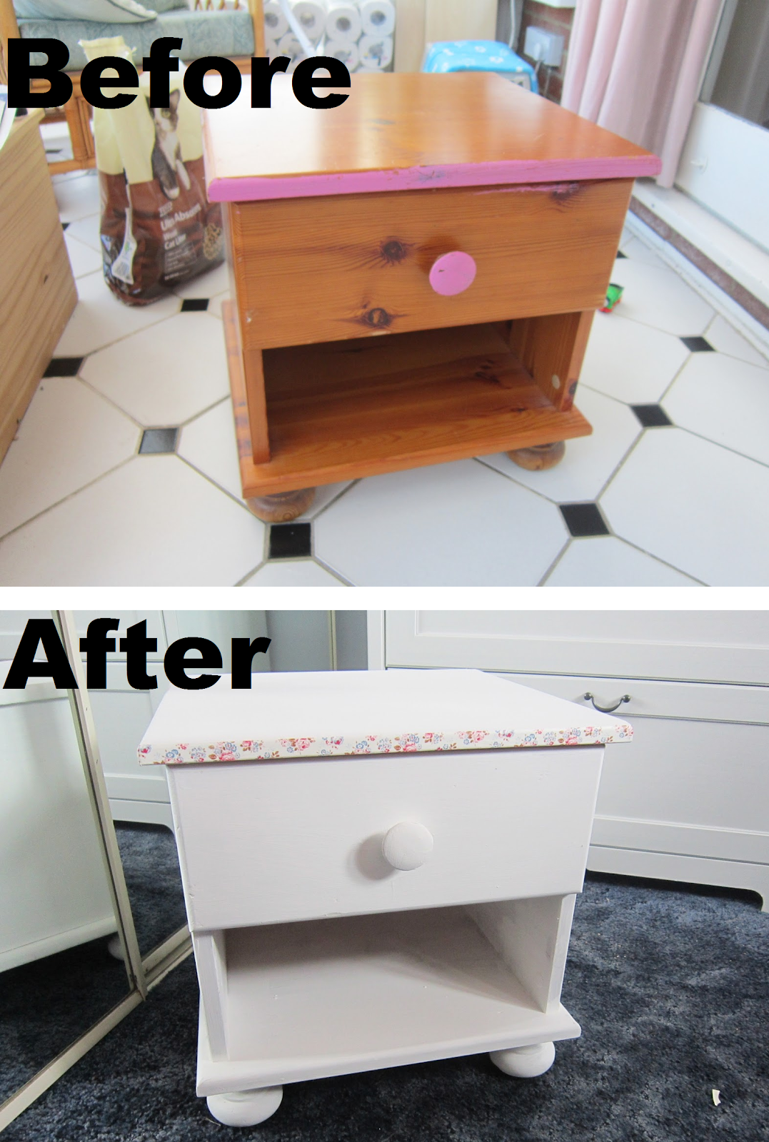 Lifestyle Blog: DIY Small Table Chest Revamp Cath Kidston Style. Full resolution  image, nominally Width 1077 Height 1600 pixels, image with #965B35.