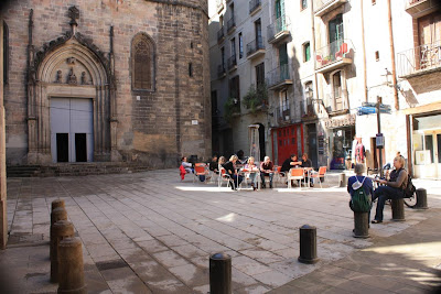 Sant Just square inside the Barcelona Gothic Quarter