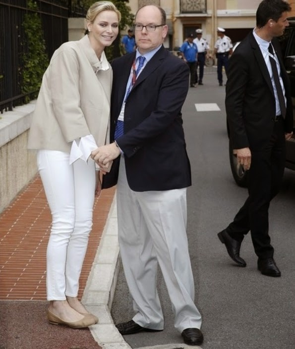 Prince Albert And Princess Charlene Visits The Monegasque Association