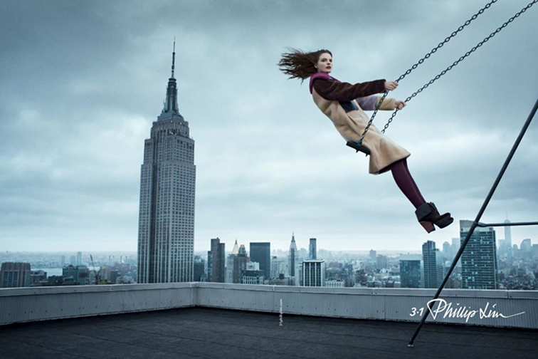 31 Phillip Lim fall 2014 ad campaign starring Tilda Lindstam photographed by Vincent van de Wijngaard in New York City, skyline, Empire State building