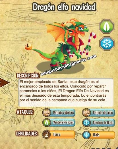 imagen de las caracteristicas del dragon elfo de navidad