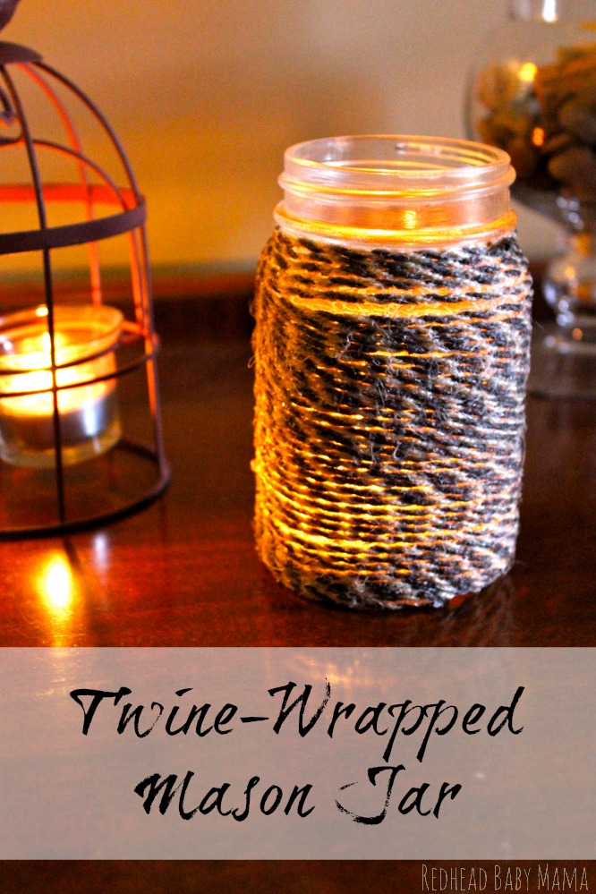 Create a Twine Wrapped Mason Jar with Mod Podge, by @RedheadBabyMama