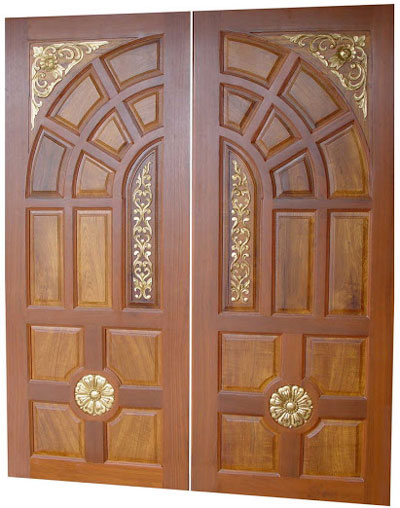 New kerala model wooden front door double door designs for Wooden main doors design pictures