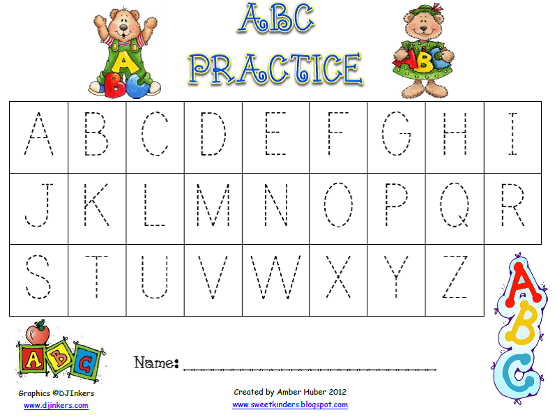 Worksheets Abc Writing sweet kinders abcs if you have little ones at home that are learning to write their letters these would be perfect for them practice