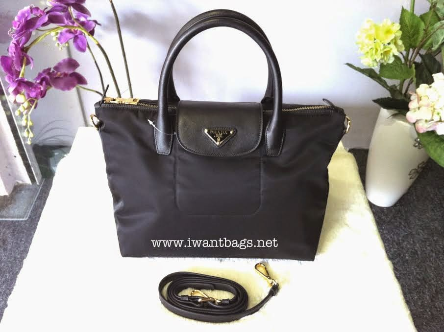 17b226487566 I Want Bags backup  Prada Tessuto Nylon Top Handle 2 Way Tote BN2106 ...
