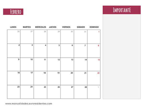 Calendario Febrero 2015 imprimir