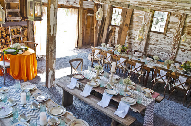 Vintage Rustic Farm Wedding Catskills shot by fine art wedding photographer Angela Cappetta room is set for a rustic dinner
