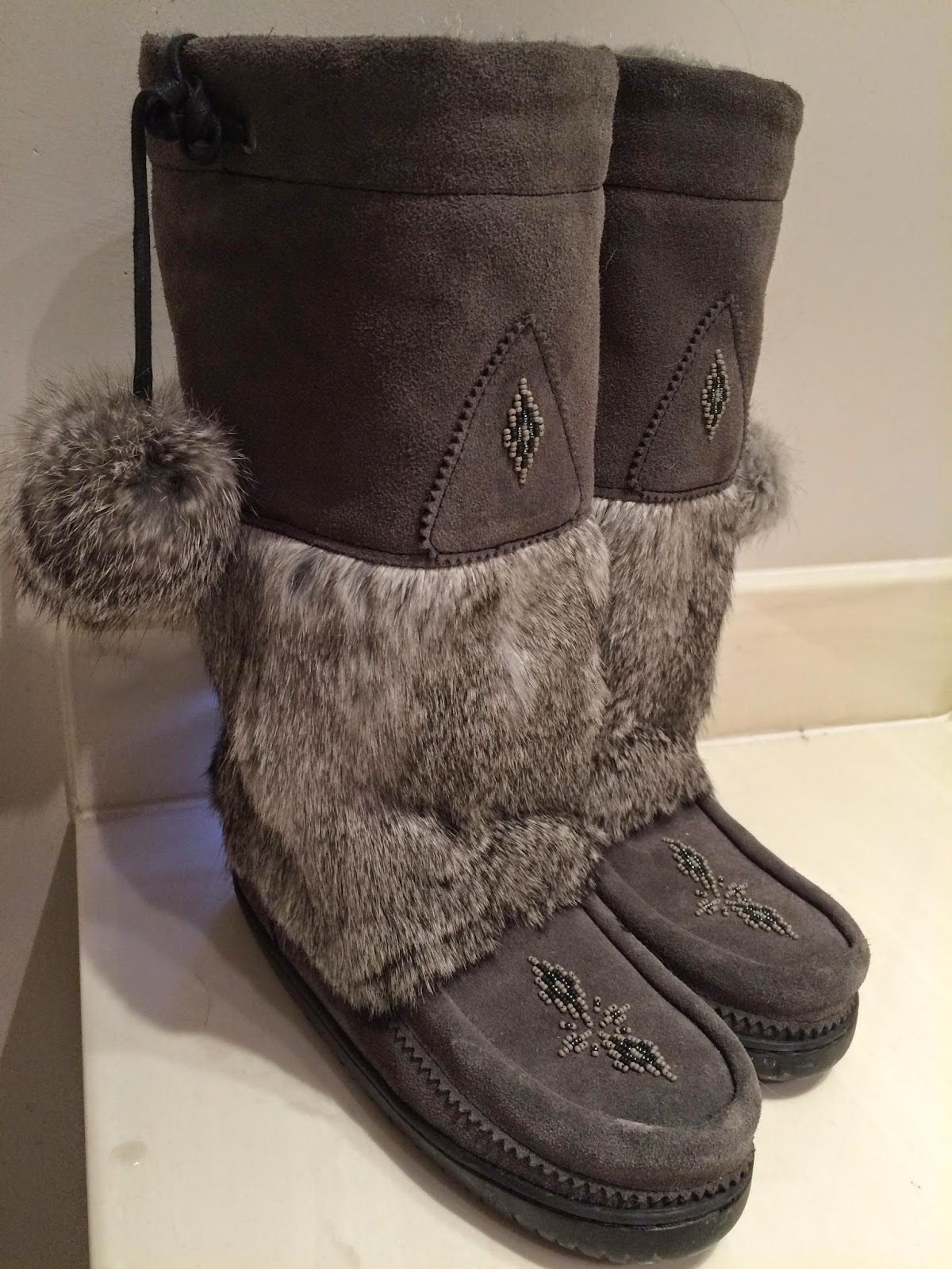 "Manitobah Mukluks, specifically ""Snowy Owl"" in Charcoal"