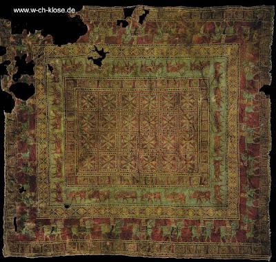 Antigua alfombra Pazyryk siglos III - IV AC