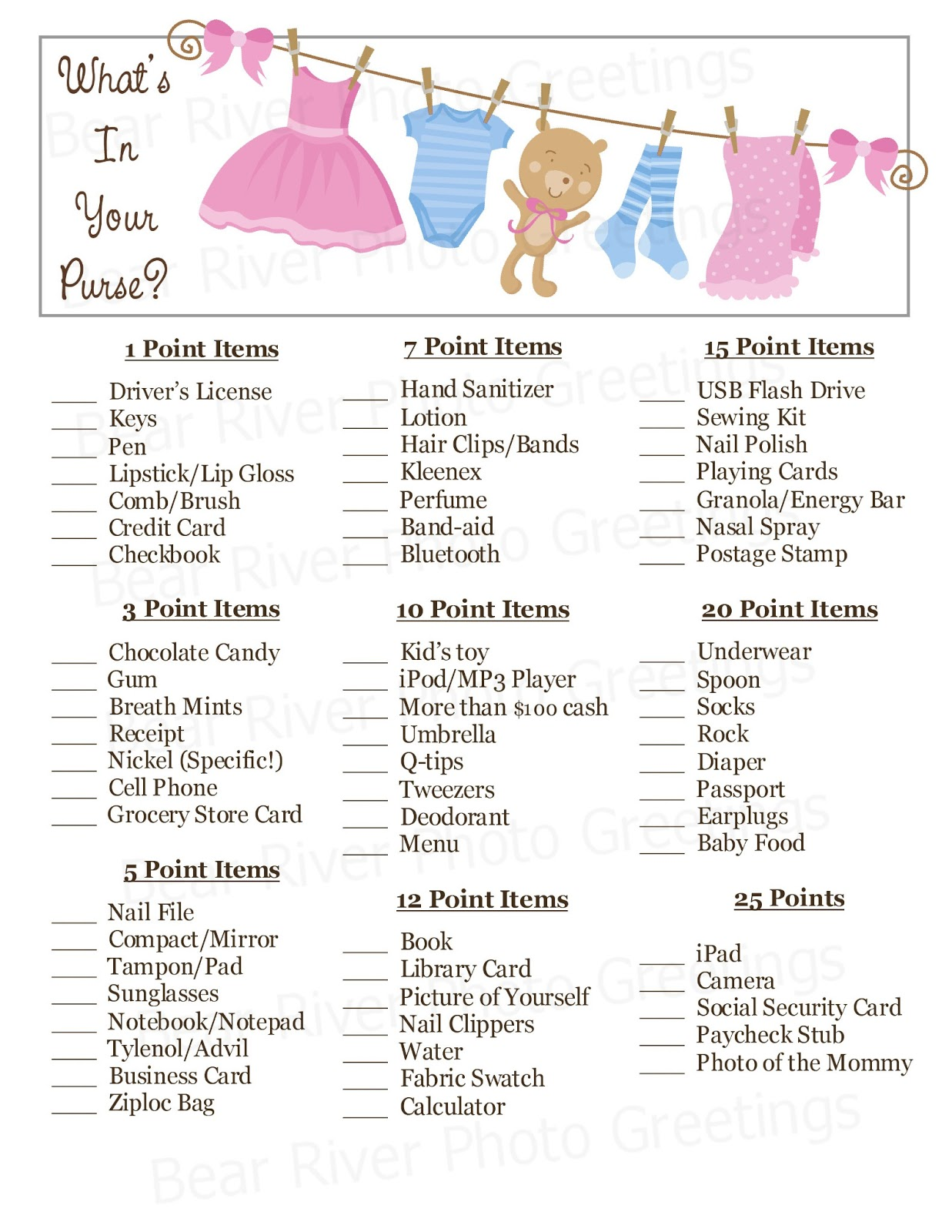 picture relating to What's in Your Purse Free Printable known as Undergo River Picture Greetings: 2013