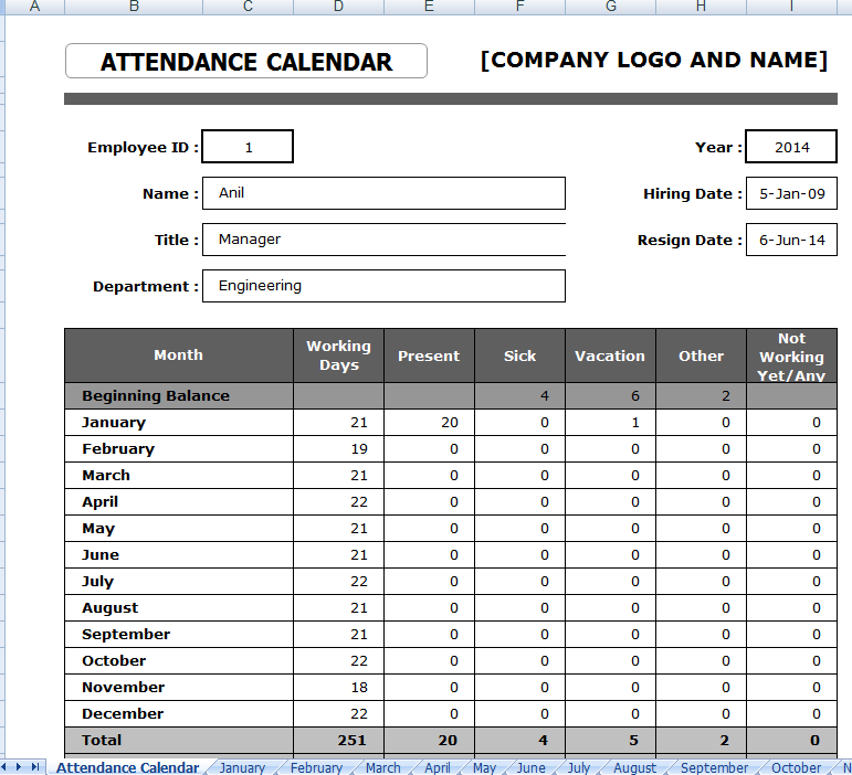 Every Bit of Life Employee Attendance Sheet Format in Excel – Office Attendance Sheet Excel Free Download