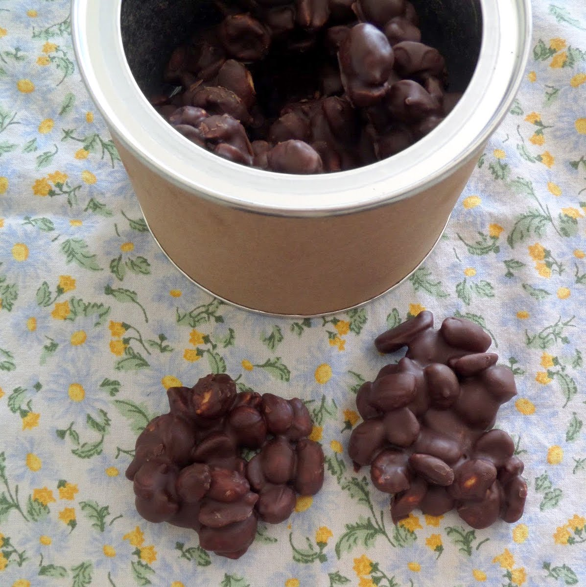 Dark Chocolate Peanut Clusters:  Salty and crunchy peanuts covered in rich dark chocolate.
