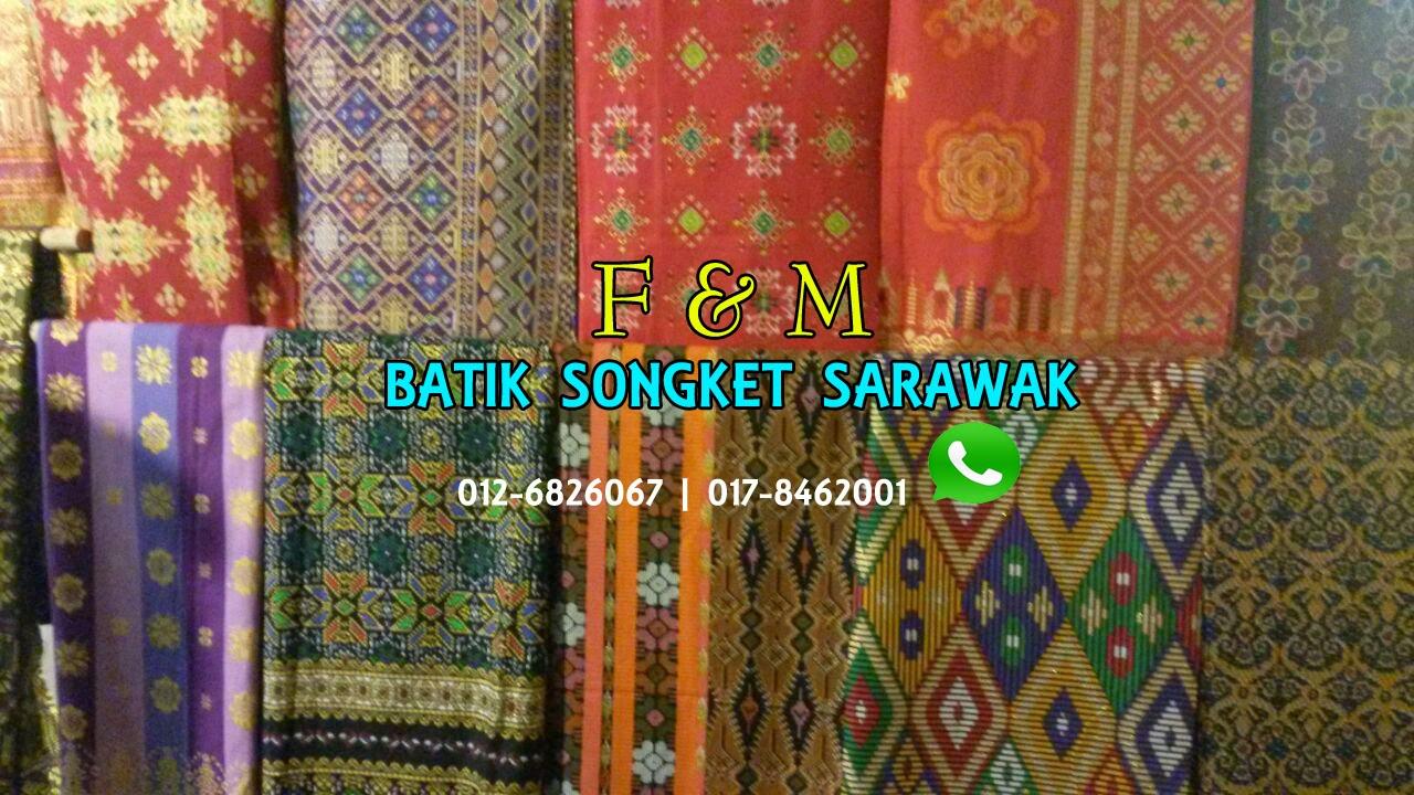 batik songket sarawak gold line