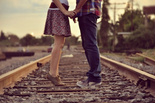 Girl boy kiss railway track love