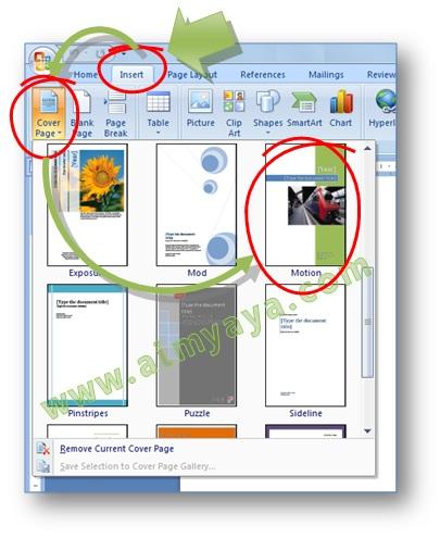 Gambar: Cara menyisipkan cover page atau halaman sampul di Microsoft Word 2007
