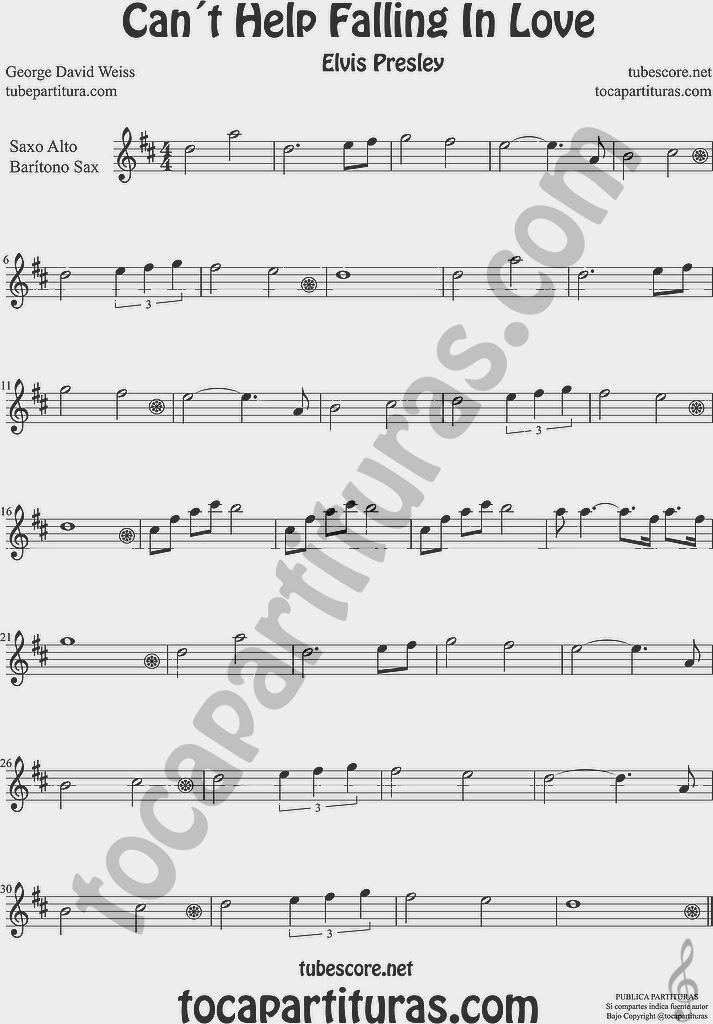 Can´t Help Falling in love by Elvis Presley Sheet Music for Alto Saxophone and Baritone Sax in Eb
