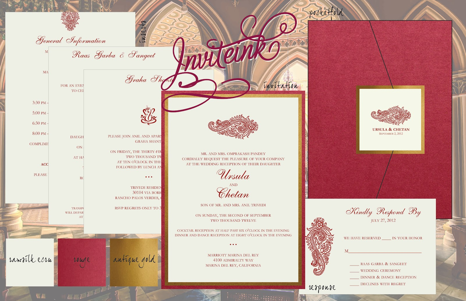 Inviteink: RED AND GOLD WEDDING INVITATION