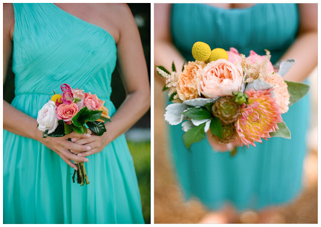 Different Blue Bridesmaid Dresses Bouquets