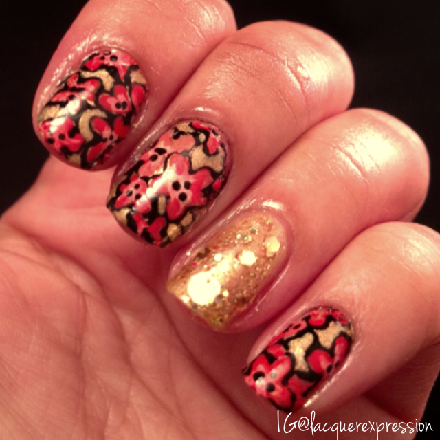 free-handed floral manicure using mostly acrylic paints for international nail art day 2014