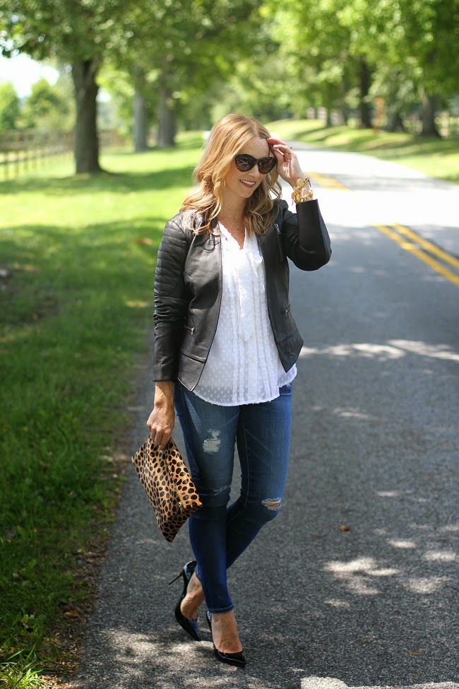 black and white outfit, loft swiss dot shirt, halogen leather jacket, AG jeans, christian louboutin heels, saint laurent sunglasses, julie vos jewelry