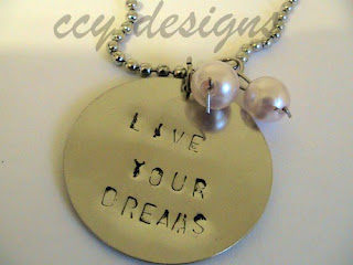 live your dreams handstamped necklace