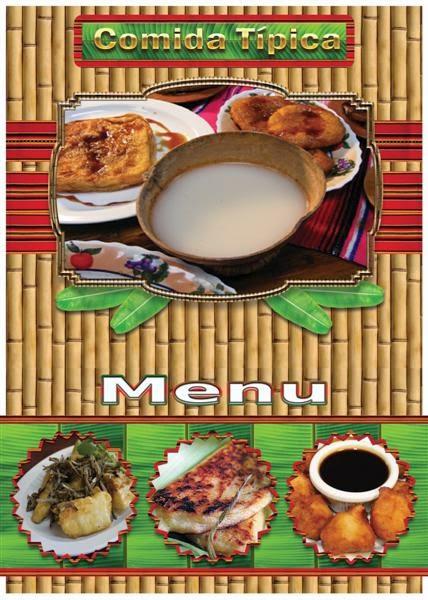 Plantilla para crear menú de restaurante de comida tipica