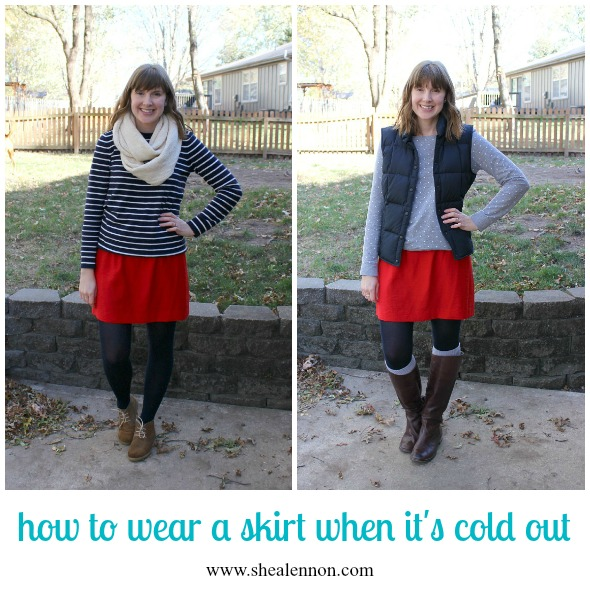 styling a skirt for cold weather - 2 ways | www.shealennon.com