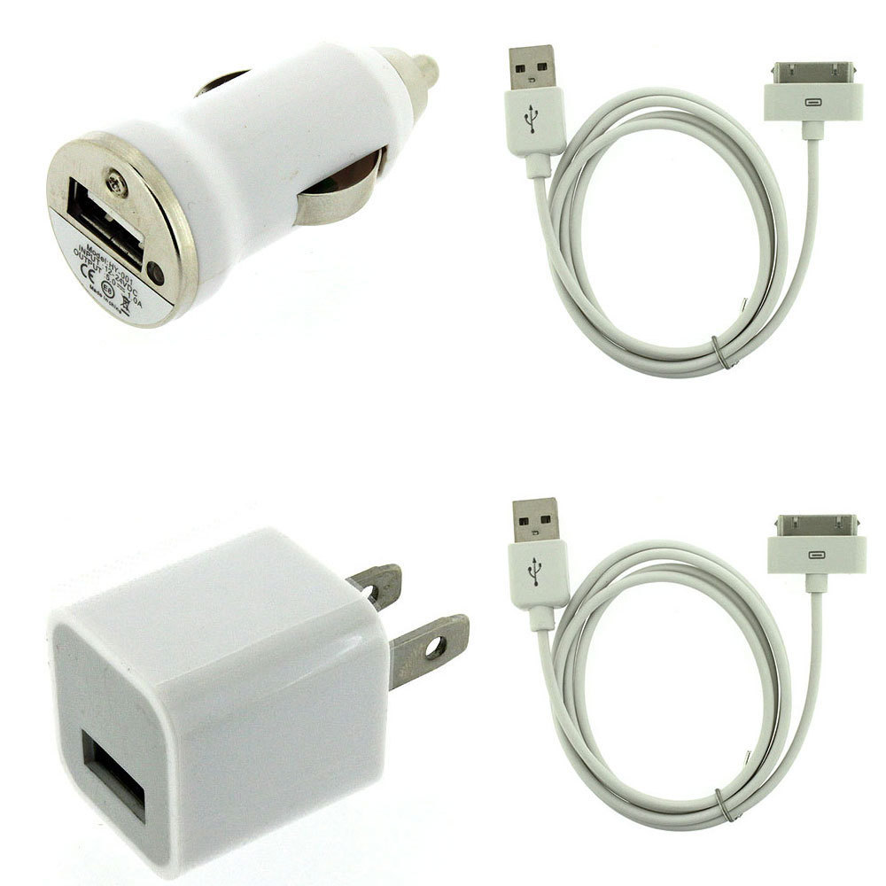 USB AC Home Wall +Car Charger +Data Cable for iPod Touch iPhone 2G 3G 3GS 4S 4