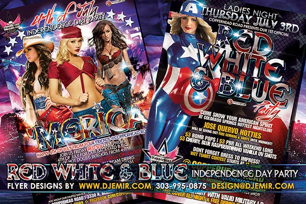 American Independence Day Red White And Blue 4th of July Party Flyer Designs