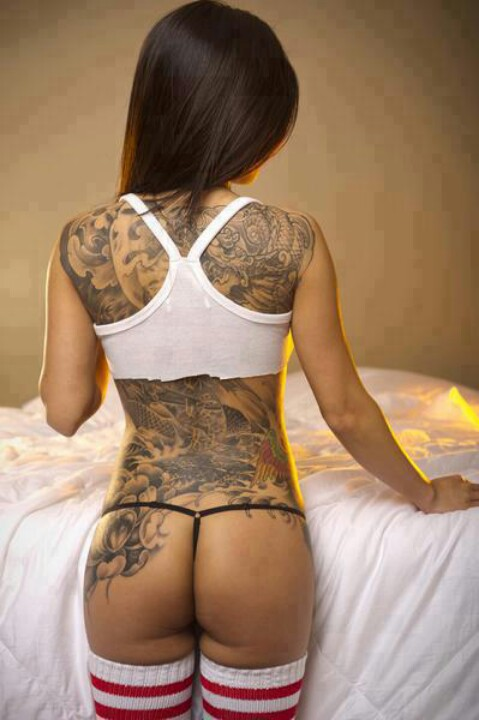 tattoo girl back string