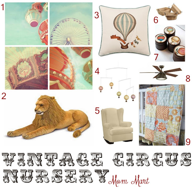 Vintage Circus Nursery Design Board by Mom Mart