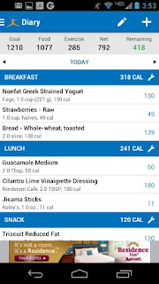 Screenshots of the Calorie Counter: MyFitnessPal for Android tablet, mobile phone.