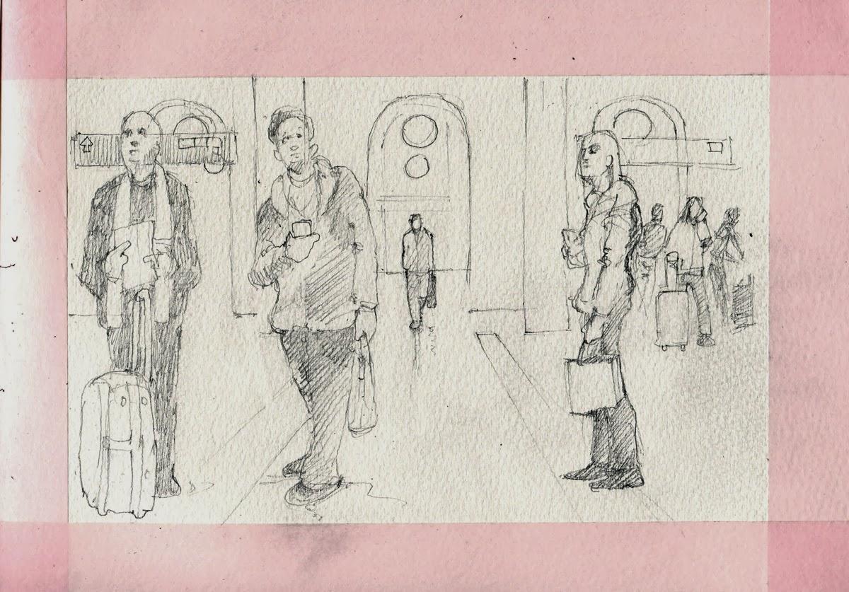 Sketch at Central Station, Stockholm by David Meldrum