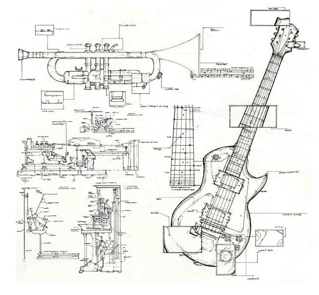 Design Context: Technical Guitar Drawings