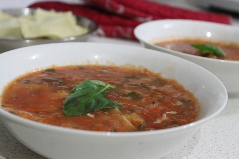 More than Words: Tomato Basil Soup with Spinach and Ricotta Ravioli
