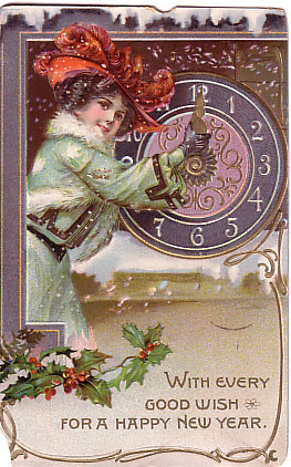 pictures of vintage new years eve card