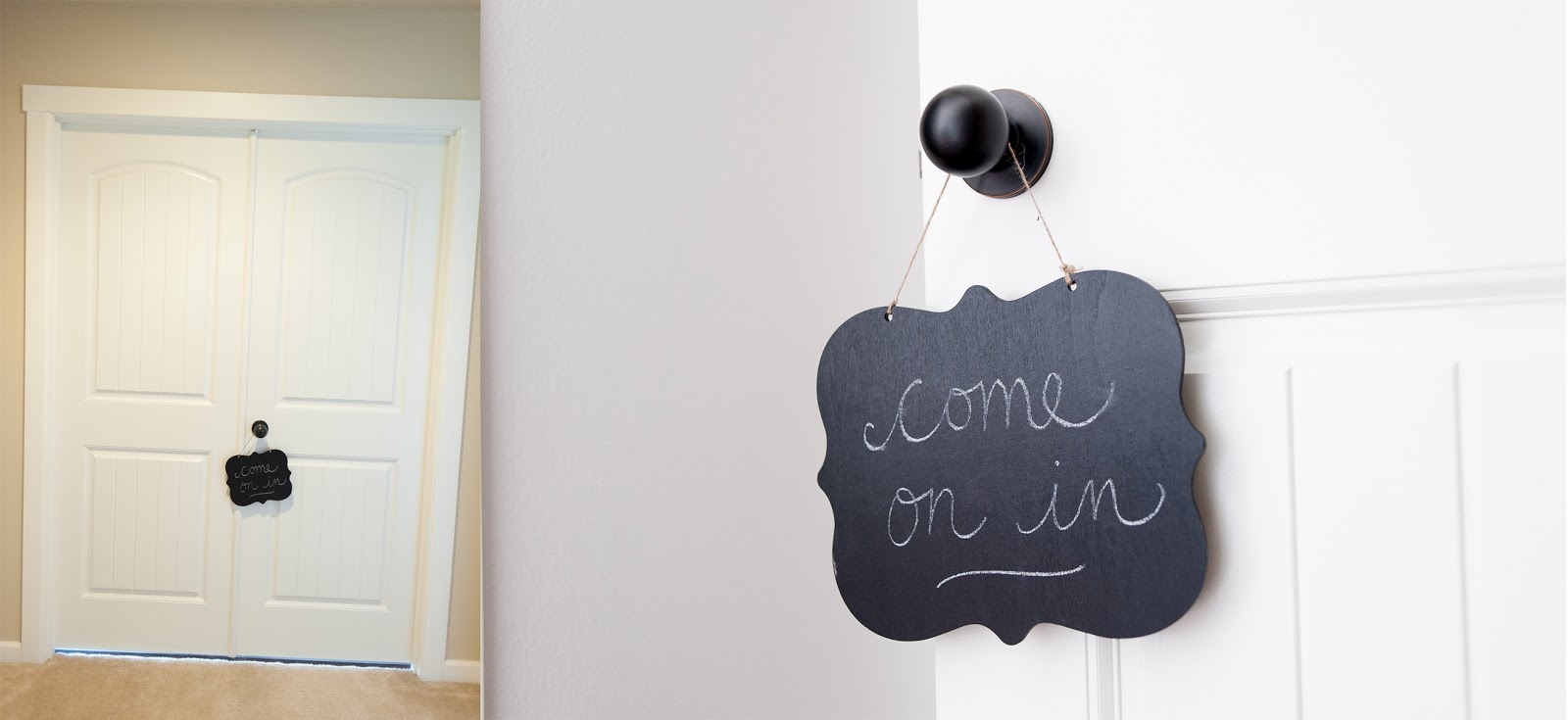 Chalkboard Welcome Sign hanging on a door