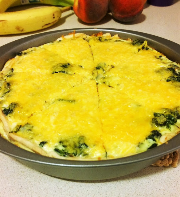 Cheddar cheese and spinach quiche delicious