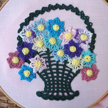 Flower Basket Thread Crochet Appliqué - Free Pattern
