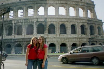 Jessie and Jenn at the Coliseum, Rome 2004