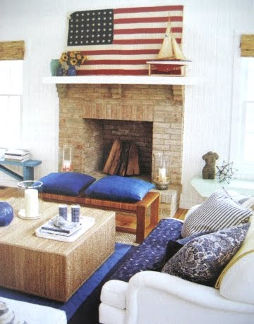 cottage decorating in red white and blue