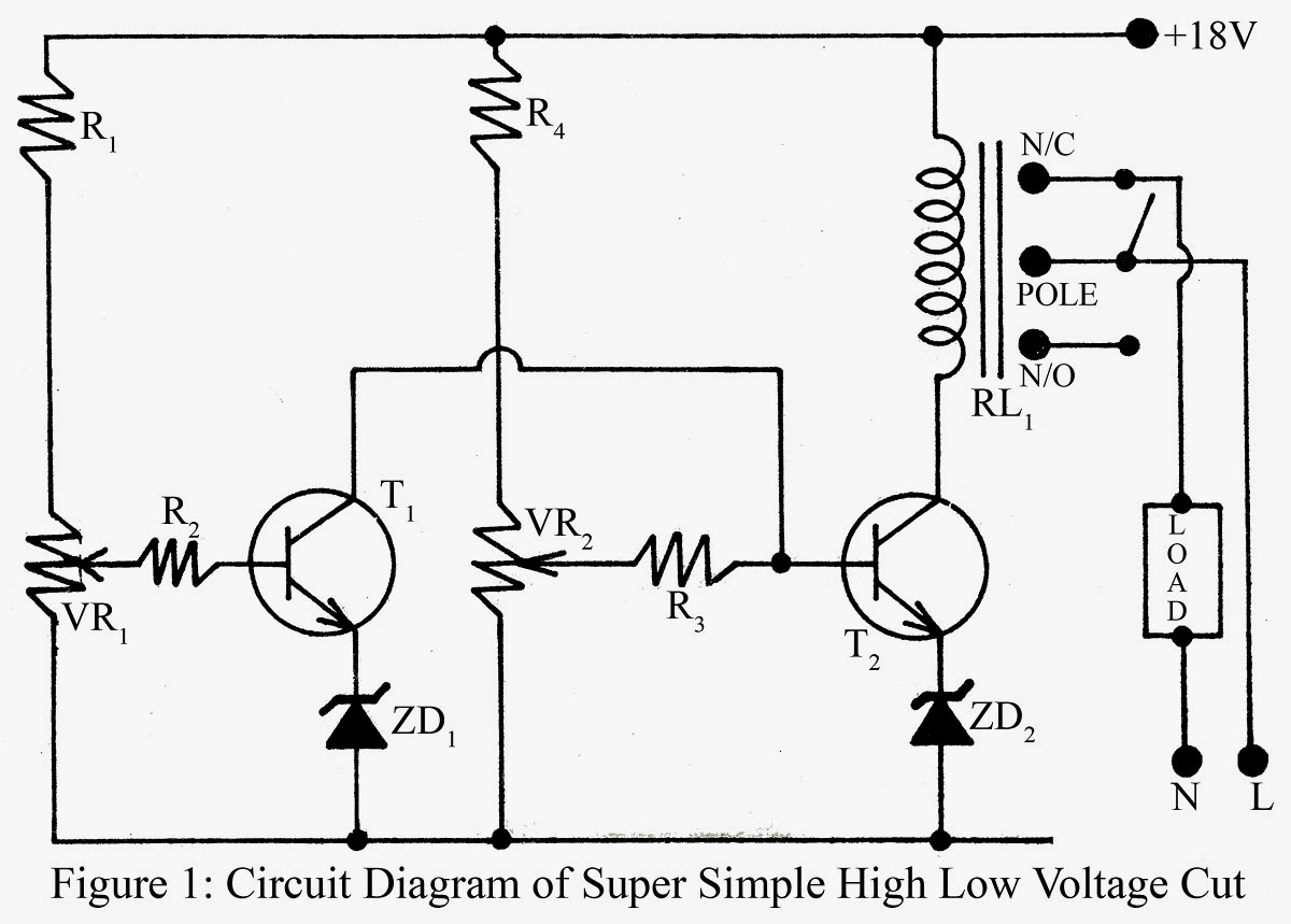 Simple Low/high Voltage Cut Circuit Diagram - Simple Circuit Projects