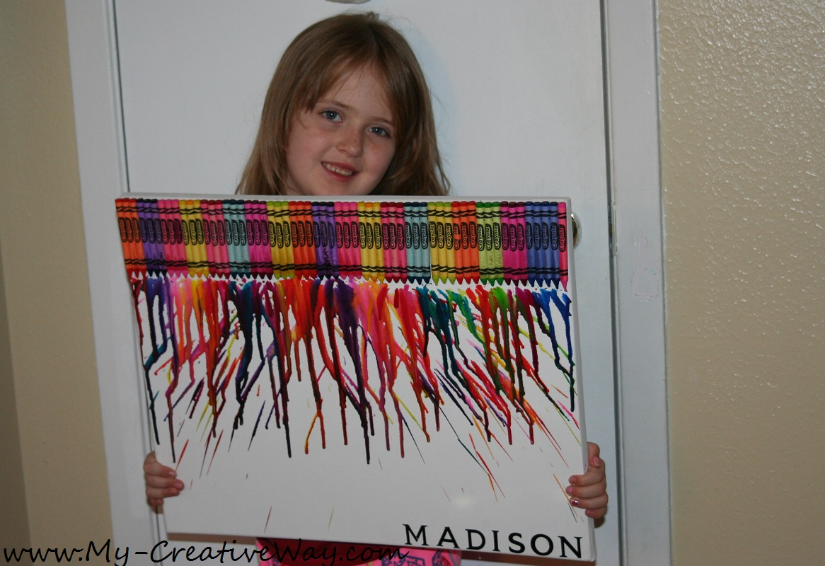 My creative way melted crayon art with kids names tips for Melted crayon art techniques