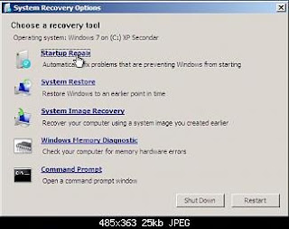 Start repair in windows 7
