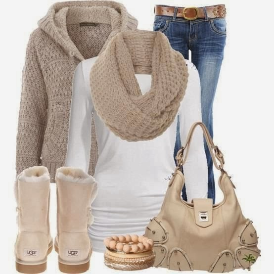 Stylish cardigan, scarf, white blouse, jeans, warm shoes and handbag for fall