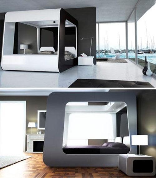este diseo es propuesto por detadesign con un diseo de cama con dosel en color blanco con persianas automticas en los lados de la cama